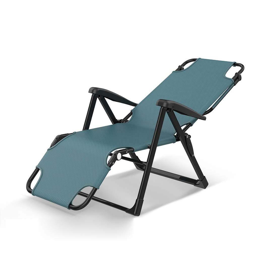 屋外用折りたたみリクライニングチェアデッキチェア折りたたみベッド寝室リビングルームナップリクライニングチェアキャンプチェアビーチ サンラウンジャーパティオ庭園湖畔レジャーチェア (Color : Blue) B07SMT6222 Blue