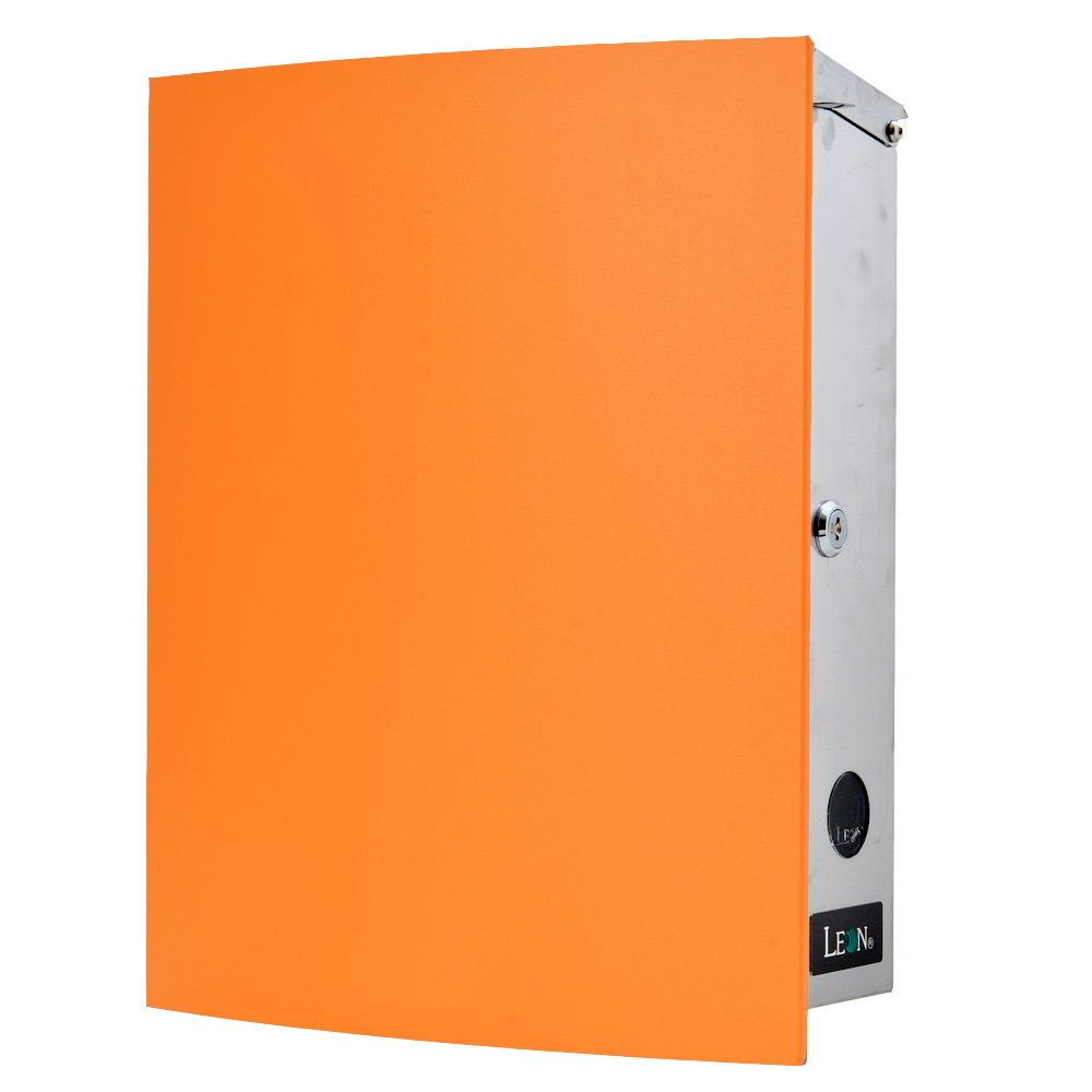 LEON (レオン) MB4504ネオ 郵便ポスト 壁掛けタイプ ステンレス製 鍵付き おしゃれ 大型 ポスト 郵便受け (マグネット付き MAIL BOXシート無し) オレンジ B076VT11BG 24624 オレンジ オレンジ