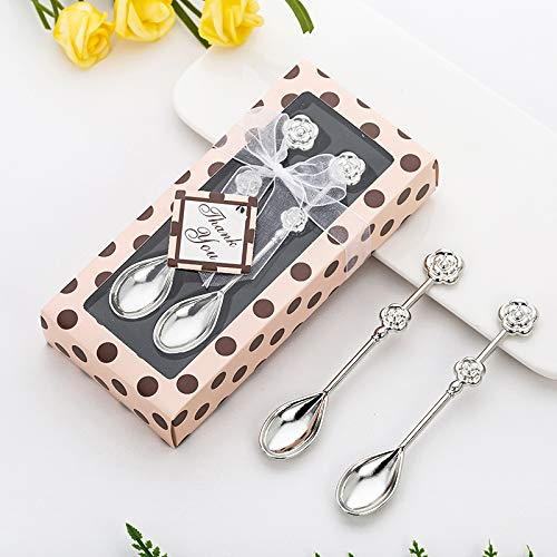 Yuokwer Pack of 12 Set Coffee Drinking Spoon Teaspoon Set Wedding Favors and Gifts,Coffee Spoon Wedding Gifts for Guests Bridal Shower Souvenirs Baby Shower Giveaways (Rose Shape Pink Box,12)