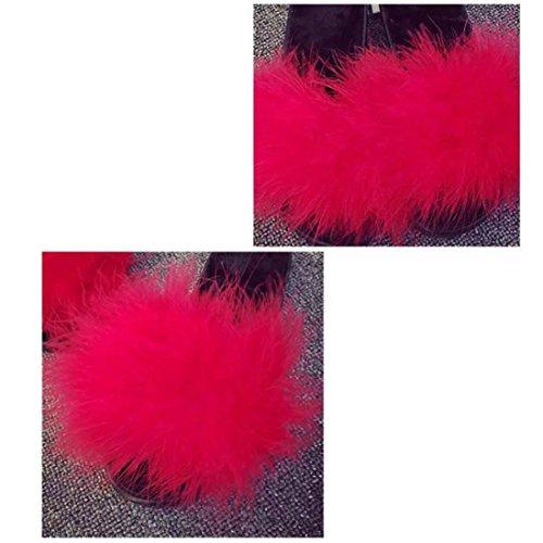 Rouge avec Chaussons Semelle Femme Mules Confort Souple OverDose Chaussons Caoutchouc Fourrure qv7A7Bw