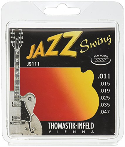 Thomastik-Infeld JS111 Jazz Guitar Swing Series 6 String Set - Pure Nickel Flat Wounds E, B, G, D, A, E Set - Swing Electric Guitar