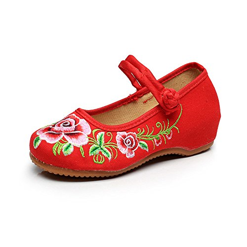 Button Shoes Fashion Flower Canvas Peony Shoes Red Embroideried Women qIwPfpxHg