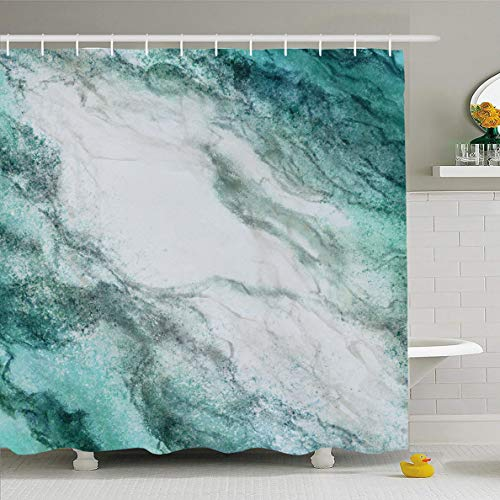 Ahawoso Shower Curtain 66x72 Inches Green Finish Teal Blue White Marbled Random Abstract Gray Artsy Black Border Color Cracked Fancy Waterproof Polyester Fabric Set with Hooks (Slate Green Shower Curtain)