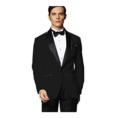 MYS Men de Custom Made Groomsman Esmoquin Traje Negro ...