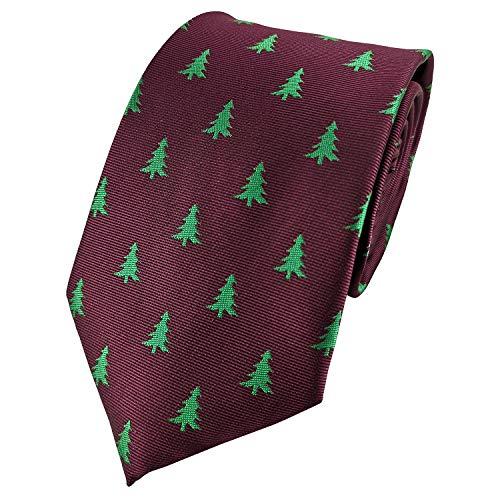 Mens Exquisite Woven Tie Christmas Series Necktie -Various Colors (Christmas Tree Burgandy)