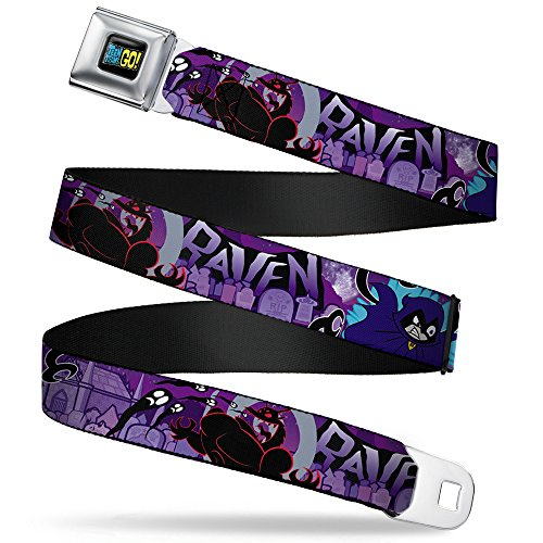 Buckle-Down Men's Seatbelt Belt Teen Titans Go Kids, raven/Trigon/Ghosts Cemetery Poses purple ash 1.0