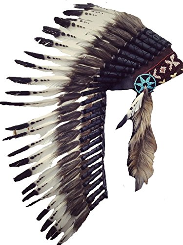 READY FOR HALLOWEEN N72- Medium White and Black Feather Headdress -