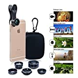 iPhone Camera Lens Kit - 2x Zoom Telephoto Fish Eye, Wide Angle and Micro Clip Lens Kit For iPhone 6S 6, Samsung, HTC, ipad, Tablet PC & Laptops - Universal Cell Phone Camera Lens Bundle