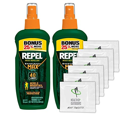 Repel Sportsmen Max Pump Spray Insect Repellent 7.5 ounce (2 Pack) w/6 Healthandoutdoors Hand Wipes for Free!