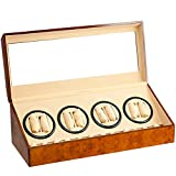 8+12 WALNUT AUTOMATIC DUAL QUAD WATCH WINDER TWELVE DISPLAY STORAGE BOX