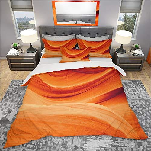 DESIGN ART Designart 'Antelope Canyon Orange Wall' Landscape Bedding Set - Duvet Cover & Shams King Cover + 2 King Shams (Comforter not Included) ()