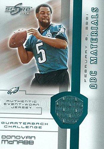 Autograph Warehouse 344972 Donovan McNabb Player Worn Jersey Patch Football Card - Philadelphia Eagles 2002 Score Materials No. 1