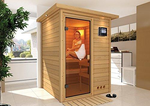 Nadja - Karibu Sauna Plug & Play inkl. 3,6 kW-Ofen - mit Dachkranz -