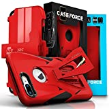 CASE FORCE iPhone 7 Plus Case, Velocity Series, World's First High Velocity Impact Resistance Case, Built-in Kickstand Plus Swivel Belt Clip Holster Plus Screen Protector - Red/Black (Wireless Phone Accessory)