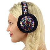 Winter Cute Metallic Sequins Soft Faux Fur Headband Earmuffs Earwarmer Ski Rainbow