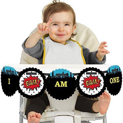 BAM! Superhero - First Birthday High Chair Banner
