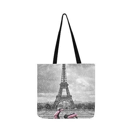 Eiffel Tower in the Rain - Bolso bandolera de lona con ...