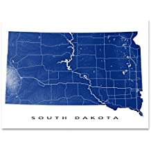 South Dakota Map Print, SD State Art, USA