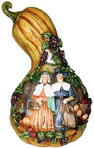 Retired Roman Carved Gourd with Pilgrim Couple Preparing for Thanksgiving