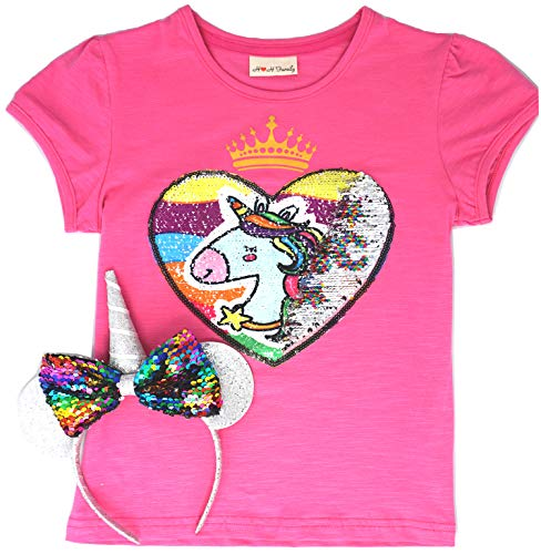 Unicorn Flip Heart Sequin Girl's T-Shirt Short/Long Sleeve 3-12 Years (5, Short Magic Bundle) -