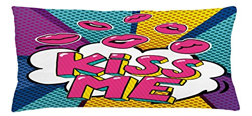 Club Chair Bubble (Ambesonne Kiss Throw Pillow Cushion Cover, Kiss Me Word Bubble in Pop Art Style Retro Colorful Dotted Backdrop with Pink Lips, Decorative Square Accent Pillow Case, 36 X 16 inches, Multicolor)