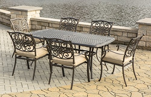 Hanover TRADITIONS7PC Traditions 7 Piece Dining Set, Natural Oat Outdoor Furniture (Set Dining Home Depot)