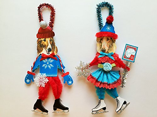 Borzoi ICE SKATER Christmas ornaments holiday dog ornaments vintage style chenille ORNAMENTS set of 2