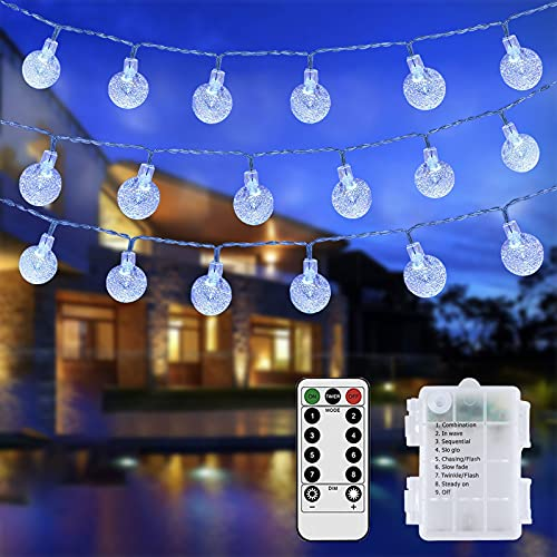 Globe String Lights Battery Operated Fairy Lights 50ft 100 LED Rolesde Crystal Ball String Lights 8 Modes with Remote Waterproof Decoration Lights Indoor Hanging Lights(1, White)