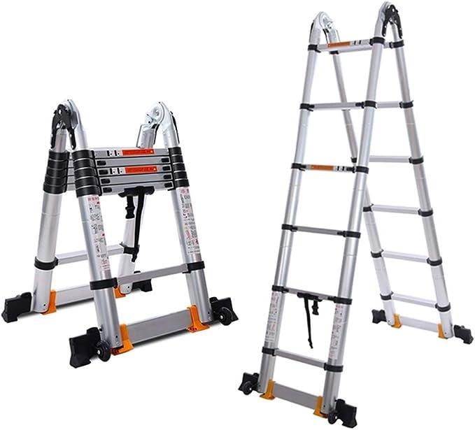 Escalera De Extensión Ruedas De Aluminio Telescópica Ajustable Cinta Escalera Escaleras Plegables, Escalera De Diapositivas Pestillo Escalera Plegable Extensión (Color : Silver , Size : 3.8m) : Amazon.es: Hogar