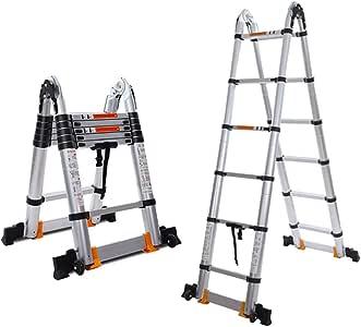 ZzheHou Escalera Telescópica Ruedas De Aluminio Telescópica Ajustable Cinta Escalera Escaleras Plegables, Escalera De Diapositivas Pestillo para Almacenamiento Y Transporte Conveniente: Amazon.es: Hogar