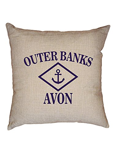 - Hollywood Thread Outer Banks - Avon, NC - Nautical Anchor Decorative Linen Throw Cushion Pillow Case with Insert
