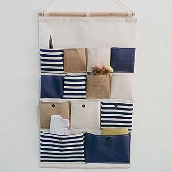 junsi Pochette coton mur Accrocher Sac 13 poche Porte sac de ...
