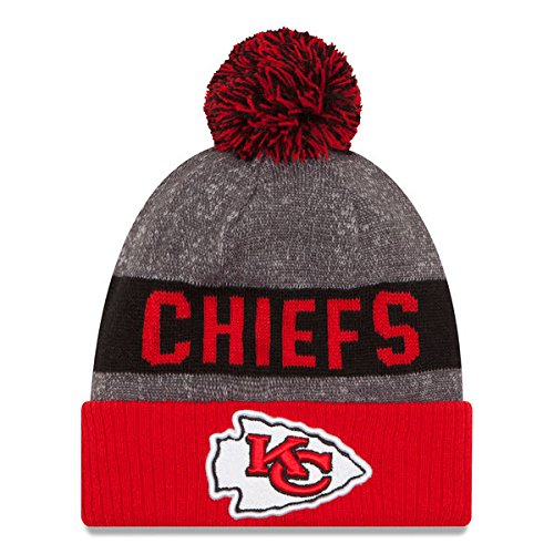 YOUTH (8-18 YRS) Authentic NFL Football Beanie Hats 2016 New Era Official Sideline On Field Junior Sport Knit Cap Team Color Unisex For Boys & Girls (One Size, Kansas City Chiefs)