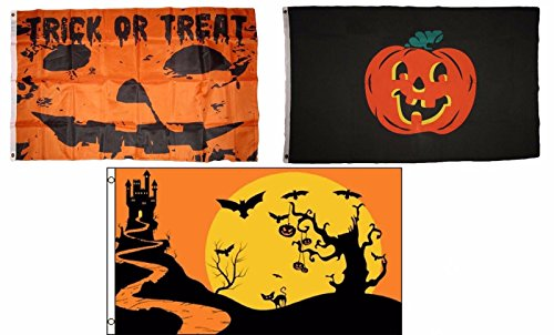 ALBATROS 3 ft x 5 ft Happy Halloween 3 Pack Flag Set #150 Combo Banner Grommets for Home and Parades, Official Party, All Weather Indoors -