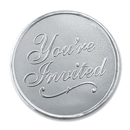 Embossed You're Invited Round Smooth Edge Silver Foil