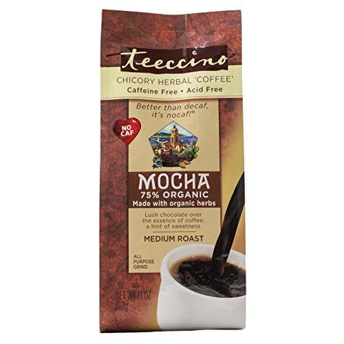 Teeccino Mocha Chicory Herbal Coffee Alternative, Caffeine Free, Acid Free, Coffee Substitute, Prebiotic, 11 Ounce ()