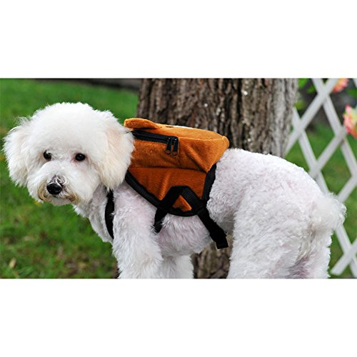 BUYITNOW Cute Pet Backpack Harness Travel Outdoor Hiking Adjustable Leash Saddlebag for Small Dogs