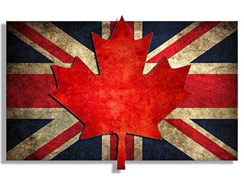American Vinyl Union Jack with Maple Leaf Vintage Flag Sticker (Canada Canadian UK Britain British London Old)