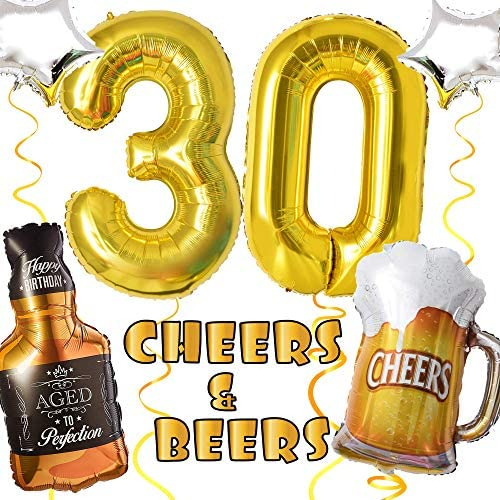 Cheers and Beers to 30 Years Balloon Decorations | 30th Birthday Party Balloons Or Wedding Anniversary Decor | 28in Beer Mug Stars 36in Whisky 40in \u201c30\u201d Gold Number Mylar Foil Balloons Supplies(30)