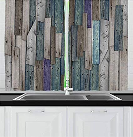 Amazon.com: T&H Home Rustic Kitchen Curtains, Image of Blue ...