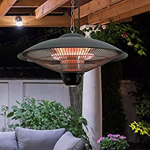 New MTN-G Hanging Ceiling Electric Halogen Patio Heater Outdoor Indoor Remote Control LED