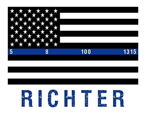 Thin Blue Line Flag Print - Police Officer Gift - Police Wife - Policeman - Police Badge - Police Academy - Police Graduation - Cop Gift