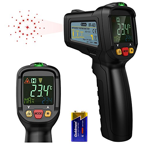 [Infrared Thermometer] Dr.meter Non-Contact Laser Thermometer FDA Approved Temperature Gun -58℉ - 1022℉ for Cooking BBQ Automotive Industrial with HD Backlit LCD Display, Battery Included from Dr.meter