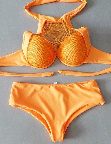 HJL Bikini-Color Único Con LazoHalter-Acrílico Malla Espándex Blue