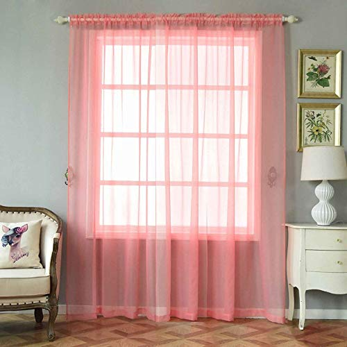 Efavormart 2 Panels Rose Quartz Sheer Organza Window Drapery with Rod Pocket Window Treatment Curtain Panels - 52