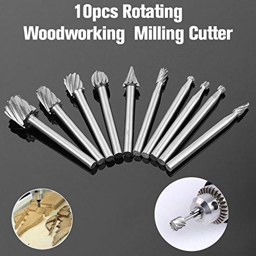 HOEN HSS Cutting Burr Bits Set For Dremel Rotary Tool Metal Woodworking Router Grinding 10 PIECE High Speed Cutter Single Cut Burs M2 Steel 1/8 (High Speed Cutter)