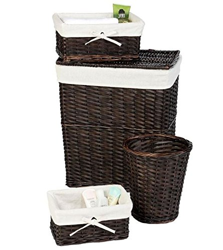 Laundry hamper storage set lined wicker baskets and for Small bathroom hamper