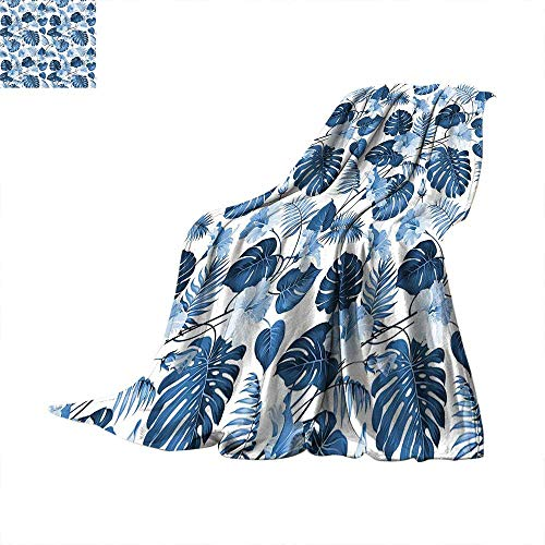 """Leaf Weave Pattern Extra Long Blanket Palm and Mango Tree Branch and Hawaiian Hibiscus Flower Image Summer Quilt Comforter 70""""x50"""" Light Blue Turquoise and Dark Blue"""