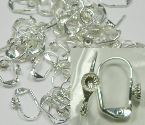 48 Leaver Back Silver-plated Brass Earwires 17mm Leverback with 5mm Cup and Open Loop. Pkg of 24 Pairs.