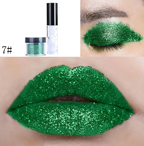 ChainSee Long-lasting Glitter Lip Gloss Powder Eyeshadow Lipstick Sparkly Shimmer Makeup Pigment Eye shadow Powder (7#) (Eye Glitter Mask)